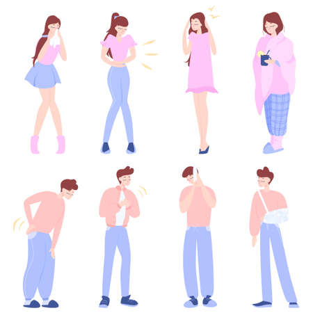 Ill people with different disease set. Collection of symptom of different illness. Woman and man having body sickness. Isolated vector illustration in cartoon style