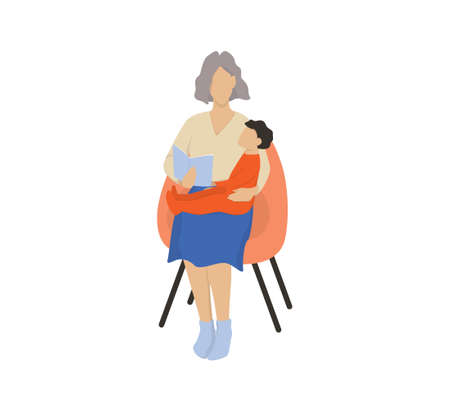 Isolated vector illustration of grandmother reading a book to her grandson Vector Illustration