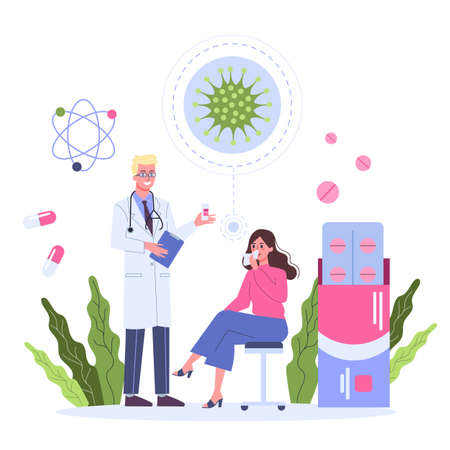 Female character having a consultation with professional immunologist. Vectores
