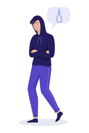 Vector illustration of sad young man thinking about suicide.