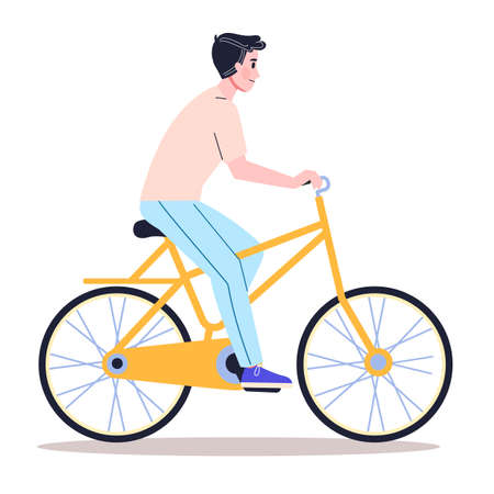 Happy young man ride bicycle side view. Healthy and active