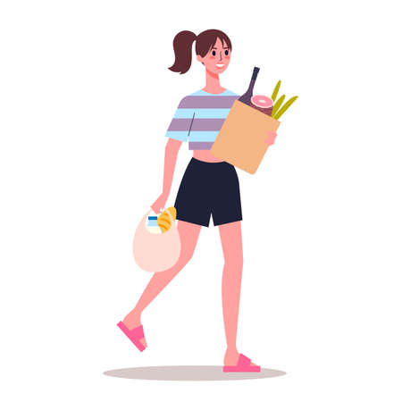 Young woman walk holding grocery bags with food.