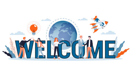 Vector illustration of welcoming concept. Greeting for new business team Vector Illustratie