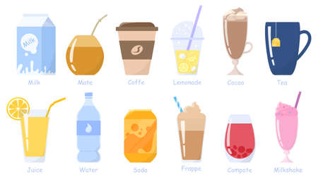 Bebidas, set de bebidas. Leche, refrescos, jugos, café, té, etc. Sin alcohol Ilustración de vector