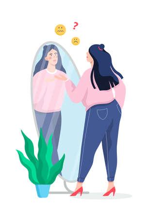 Triste mujer gorda mirando en el espejo. Idea de obesidad y sobrepeso. Ilustración de vector