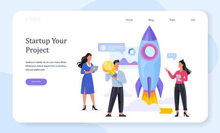 Rocket launch as a metaphor of startup. Business development