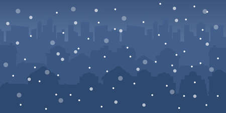 Christmas winter town vector illustration. Houses with lights on