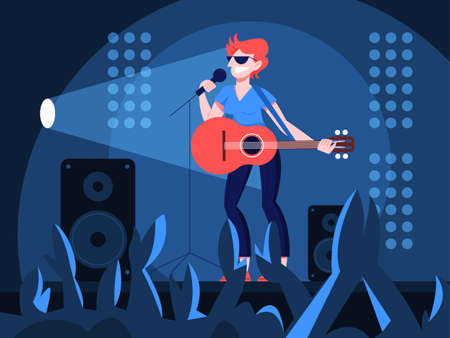 Vector illustration of guitarist playing music on the stage. Ilustracja