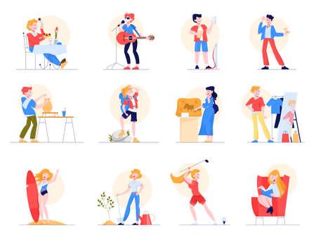Hobby-Set. Sammlung von Menschen und kreative Aktivität. Künstlerischer Mensch.