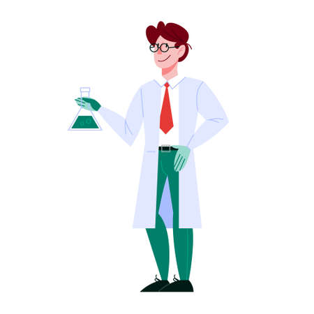 Male professor character in the uniform. Science concept. Ilustrace