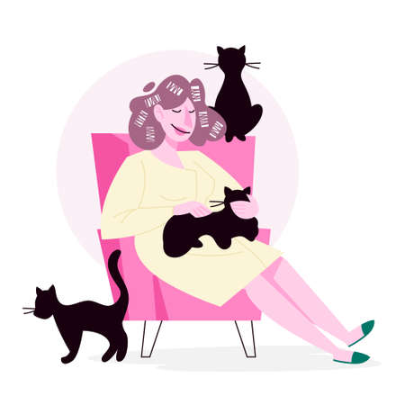 Isolated vector illustration of cat lover doing her daily routine