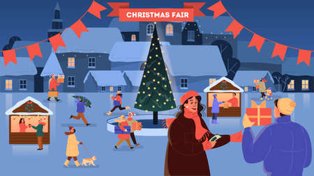 Christmas market vector illustration. Festive food and holiday