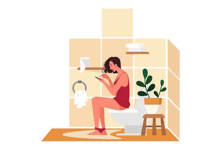 Rutina diaria de una mujer. Mujer sentada en el inodoro Ilustración de vector