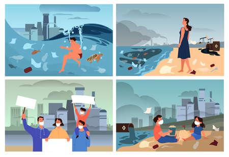 Global ecology problems set. Environmental disaster, earths