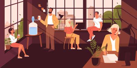Coworking space. Business people work in team. Workers