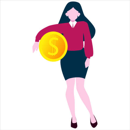 Business finance growth concept. Idea of money increase. Budget profit. Businesswoman with golden coin. Idea of economy and finance wealth. Vector illustration in cartoon style 向量圖像