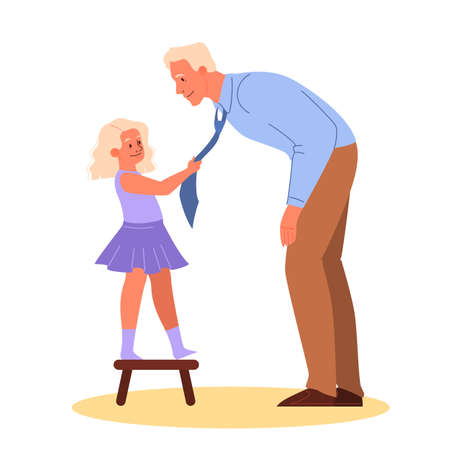 Father spend time with child vector illustration. Man with little girl. Parent and kid happy together. Isolated vector illustration in cartoon style Stok Fotoğraf - 134621341