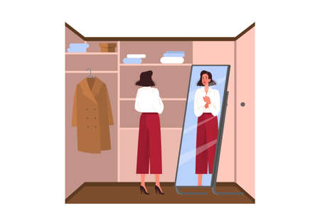Daily routine of a young woman. Businesswoman dressing up in the wardrobe to go to work. Female character putting on her blouse. Isolated vector illustration in cartoon style