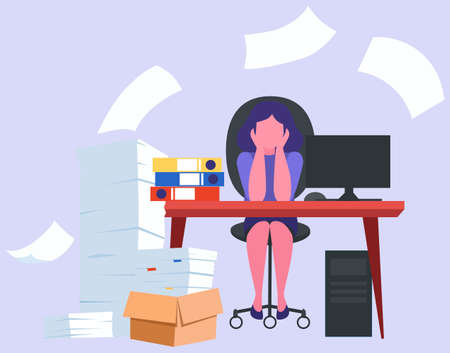 Stress at work and deadline concept. Idea of many work Иллюстрация