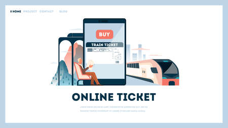 Book a train ticket online concept. Idea of travel and tourism. Planning trip online. Buy ticket for train in the app. Vector illustration in cartoon style