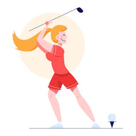 Ilustración de vector de jugador de golf femenino. Mujer sosteniendo un golf