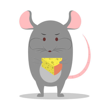 New 2020 year symbol. Cute mouse holding cheese. Stock Vector - 134627961