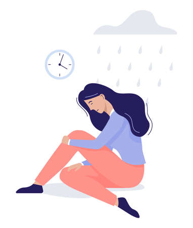 Mental health concept. Woman with bipolar disorder. Person suffer from depression and anxiety. Fear and stress, unhappy person. illustration in cartoon style Иллюстрация