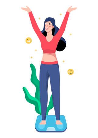 Beautiful slim woman standing on bathroom scales. Ilustração
