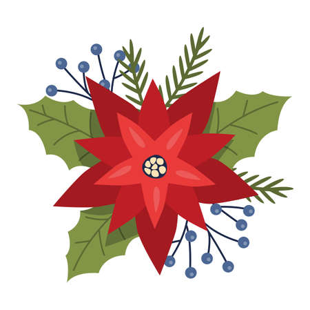 Christmas Flower or poinsettia. Beautiful red flower for traditional Christmas decoration, festive floral element. Vector flat illustration