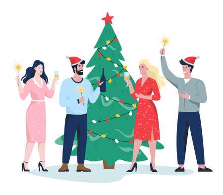 People celebrate new year and christmas in the office. Business party, character in Santa Claus hat and glasses of champagne. Vector illustration in cartoon style