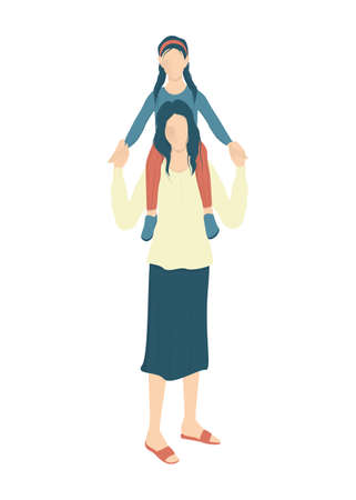 Beautiful mother holding her daughter on shoulders. Young woman and cute girl.