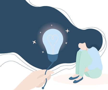 Mental health concept. Woman with mental disorder. Ilustração