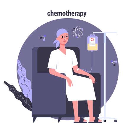 El paciente padece cáncer. Paciente de oncología de personaje femenino con un gotero recibiendo una quimioterapia. Idea de atención médica, enfermedad oncológica y tratamiento médico Ilustración vectorial en estilo de dibujos animados