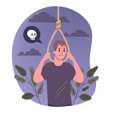 Vector illustratiion of sad man think about suicide by hanging. Иллюстрация