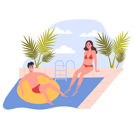 Travel and vacation concept. People relax by the pool. Couple