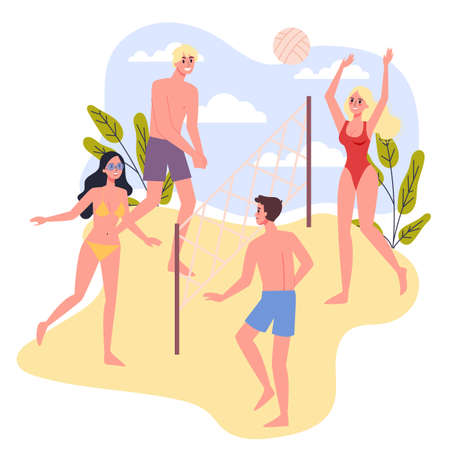 Travel and vacation concept. People playing beach volleyball. People having a summer holiday. Isolated vector illustration in cartoon style Ilustração