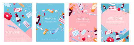 Healthcare and medical treatment concept. Collection of pharmacy drug. Drug and pill. First aid kit concept. Isolated vector illustration in cartoon style. Set of web poster vector illustration Zdjęcie Seryjne - 134623057