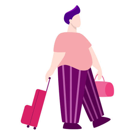 Vector illustration of tourist with laggage and handbag.