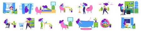 Daily routine of a woman set. Girl having breakfast in the morning, work and sleep. Businesswoman schedule. Working in office on computer. Isolated vector illustration in cartoon style