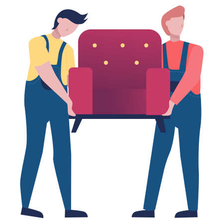 Fast delivery service. Mover in uniform carrying an armchair. Logistic concept. illustration in cartoon style