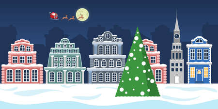 Christmas winter town vector illustration. Christmas tree Illustration