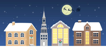 Christmas winter town vector illustration. Santa Claus in sleigh and running deer. Christmas card collection