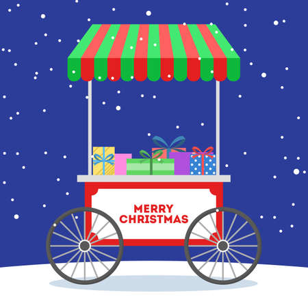Christmas market cart vector illustration. Christmas gifts wrapped with colorfull gift papper. Lovely holiday tradition. Vector flat illustration