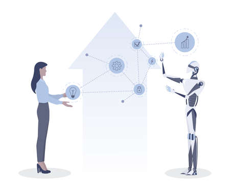 Businesswoman and robot communication idea. Human offer an idea