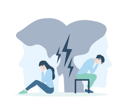 Couple therapy concept. Problems in relationship, marriage counseling