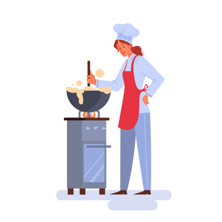 Restaurant chef cooking. Person in apron making tasty dish. Illustration