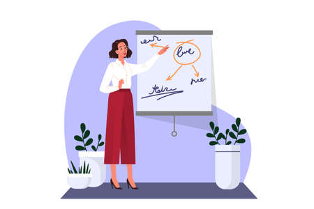 Woman making business presentation and pointing at the board.