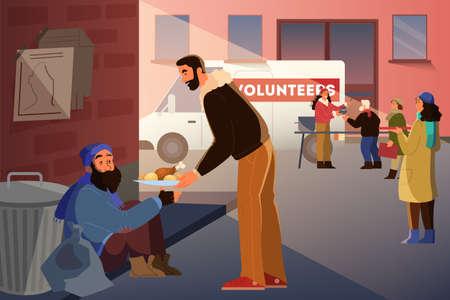 Volunteer help people idea. Charity community support homeless