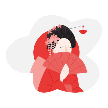 Japan woman in national costume kimono holding a fan. Illustration
