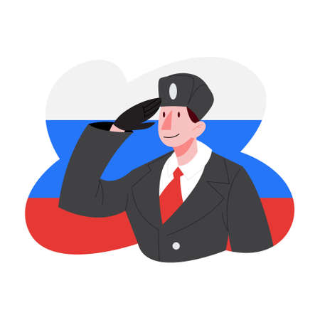 Russian soldier saluting against Russian Federation flag. Citizen of Russia.